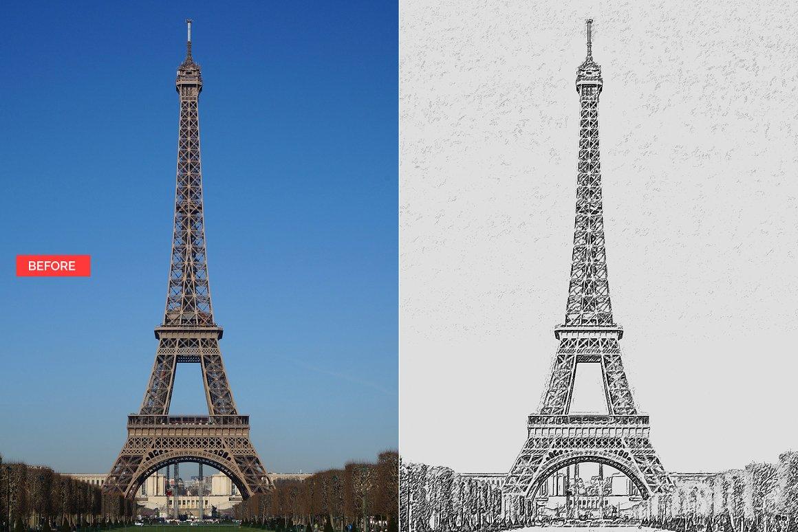 اکشن تبدیل عکس به نقاشی سیاه قلم در فتوشاپ – Pencil Sketch Photoshop Action