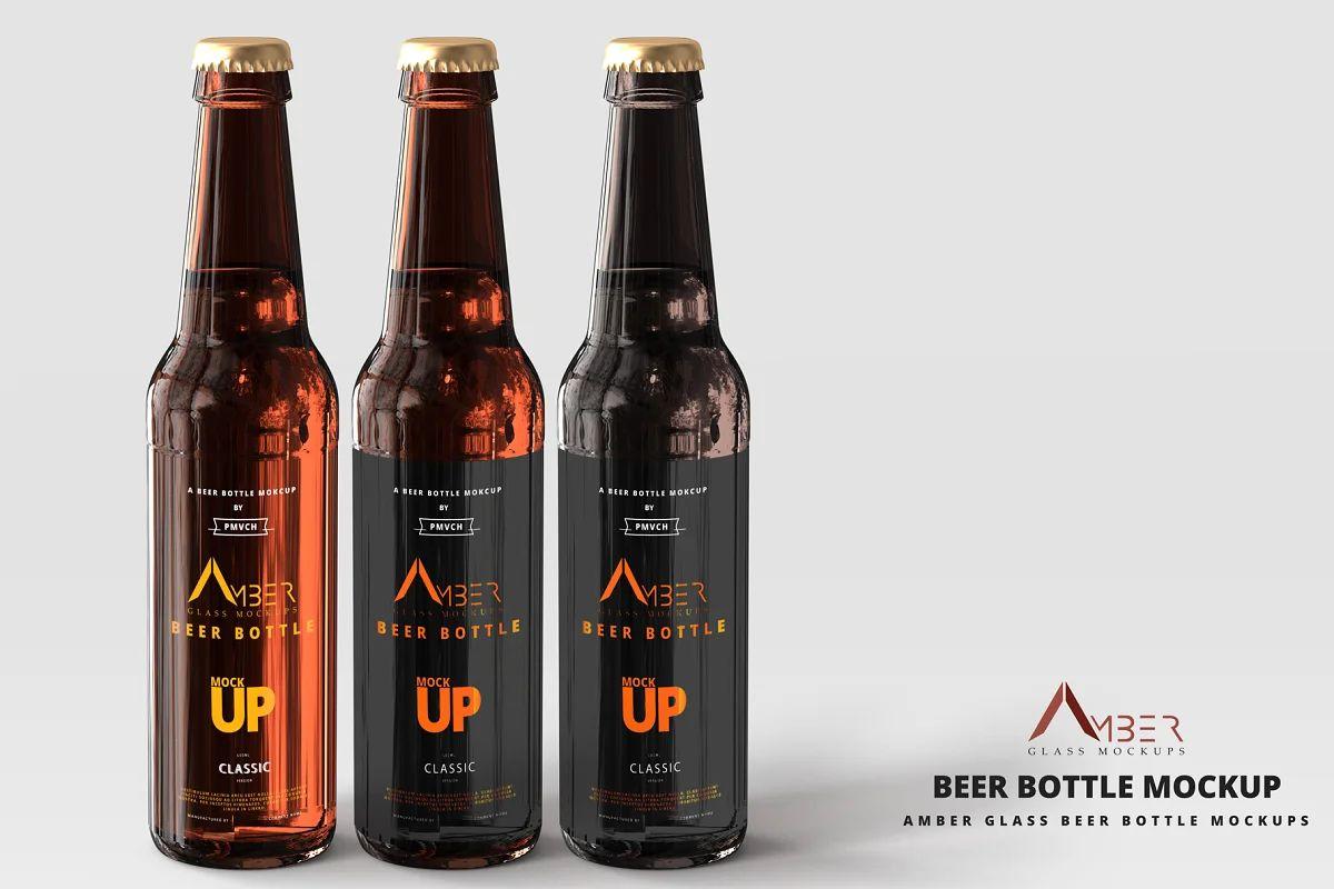 موکاپ بطری نوشیدنی Amber Glass