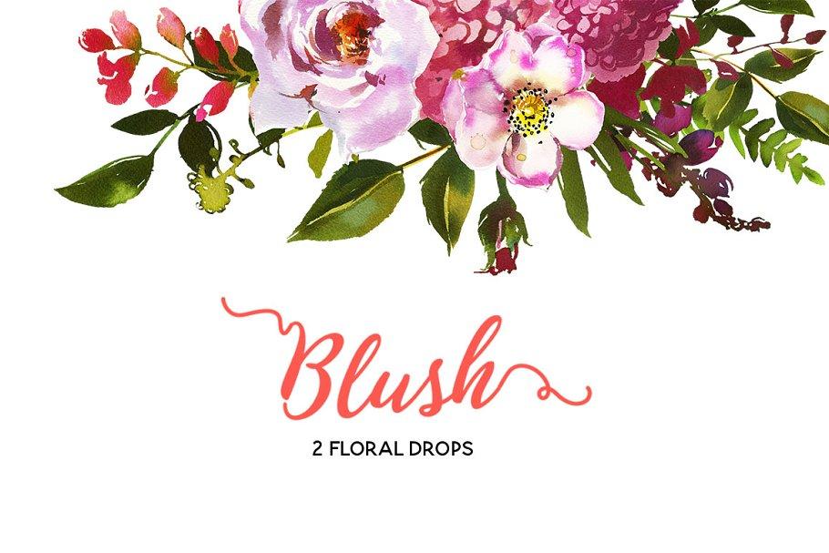 کلیپ آرت گل Blush Pink Coral Watercolor Flowers