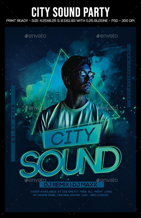 فایل لایه باز بنر City Sound Party Flyer