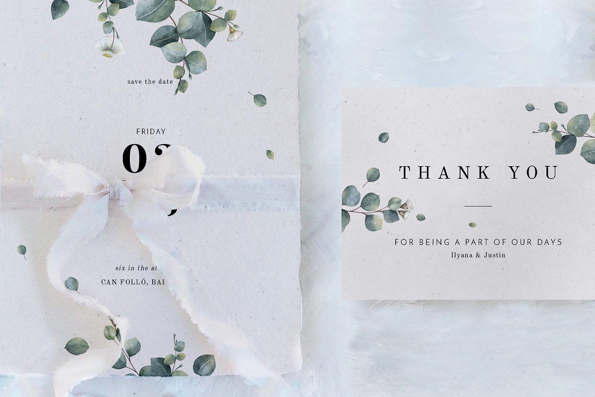 فایل لایه باز کارت دعوت عروسی Eucalyptus Foliage Wedding Suite
