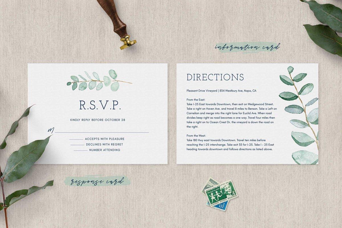فایل لایه باز کارت دعوت عروسی Eucalyptus Wedding Invitation Suite