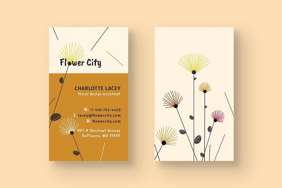 فایل لایه باز کارت ویزیت گل فروشی