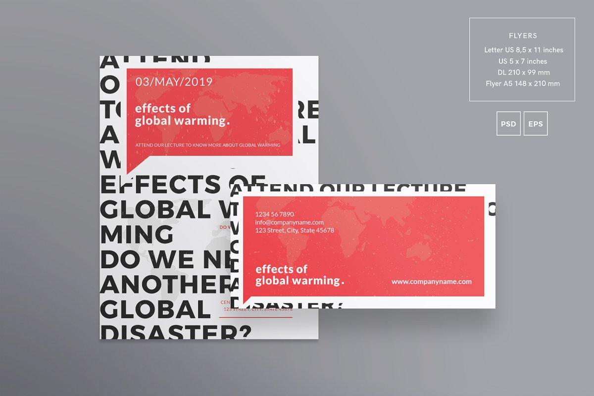 فایل لایه باز آگهی Global Warming Flyers