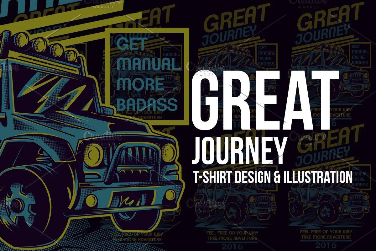 وکتور تیشرت Great Journey Illustration