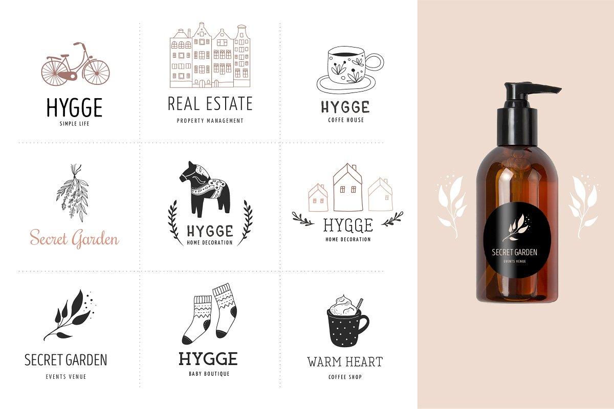 فایل لایه باز لوگو Hygge – premade logo collection