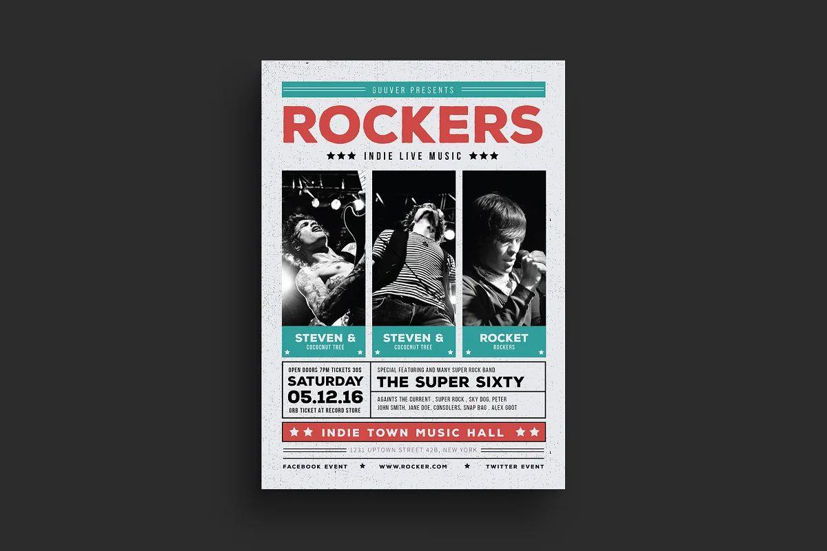 فایل لایه باز تراکت کنسرت موسیقی راک