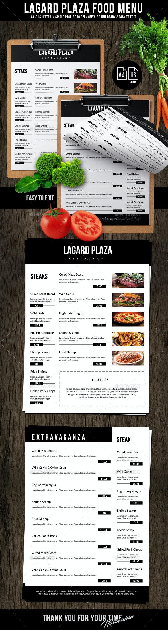 فایل لایه باز منوی غذای رستوران
