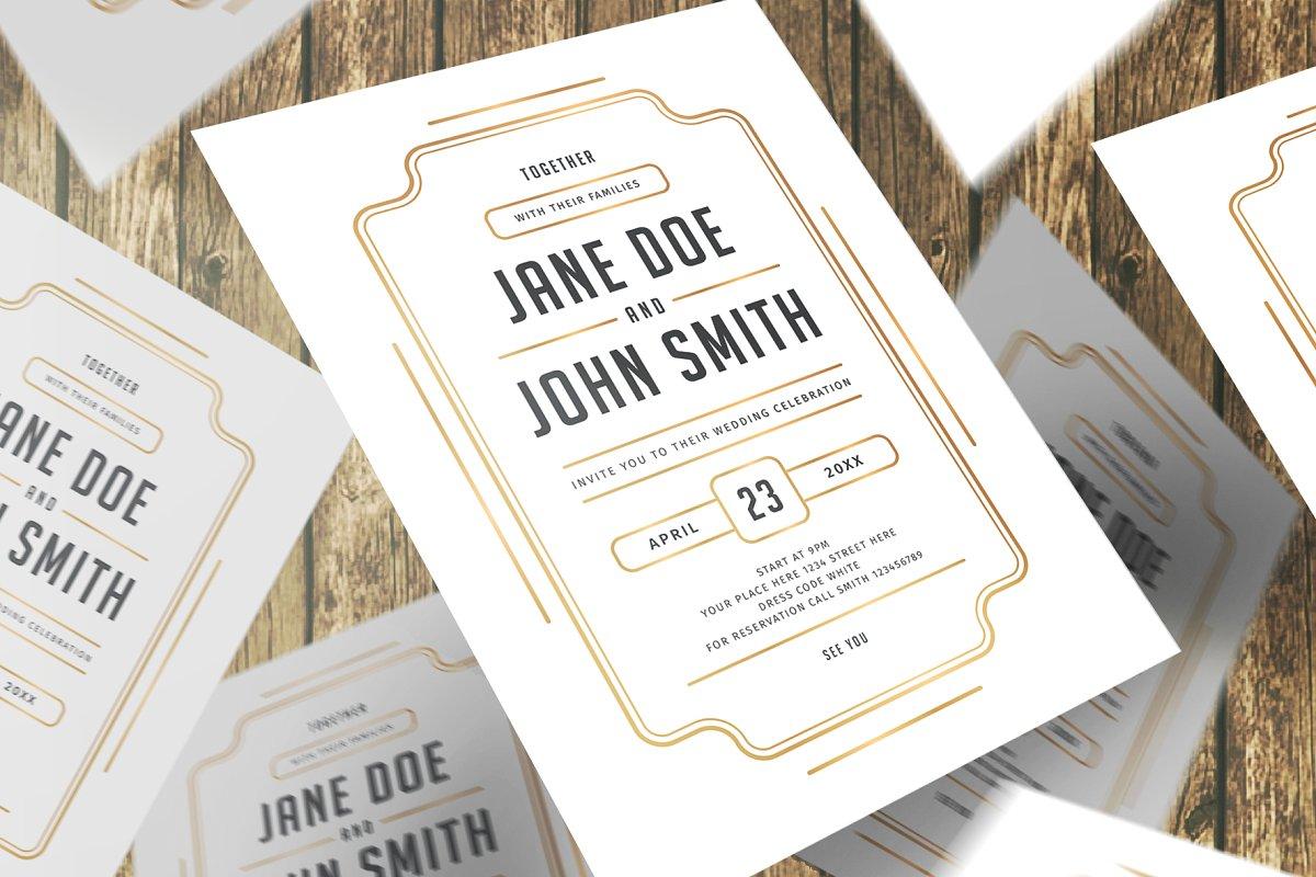 فایل لایه باز کارت دعوت عروسی مینیمال